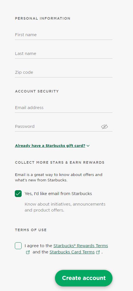 Create a Starbucks Account