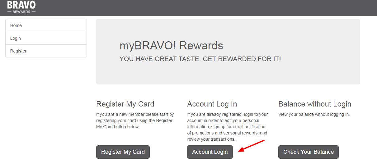 Feast with Bravo and Get Reward account login