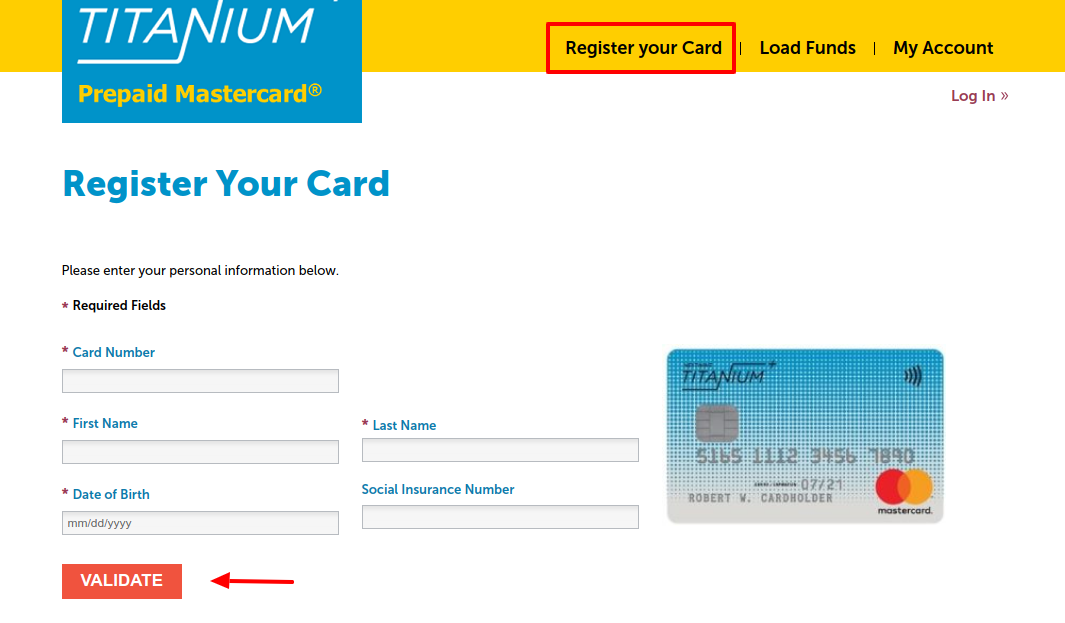 Register Titanium+ Prepaid Card
