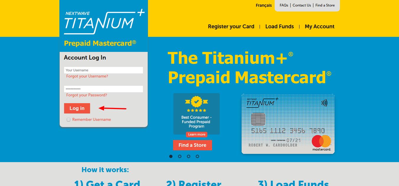 Titanium+ Prepaid Card Login