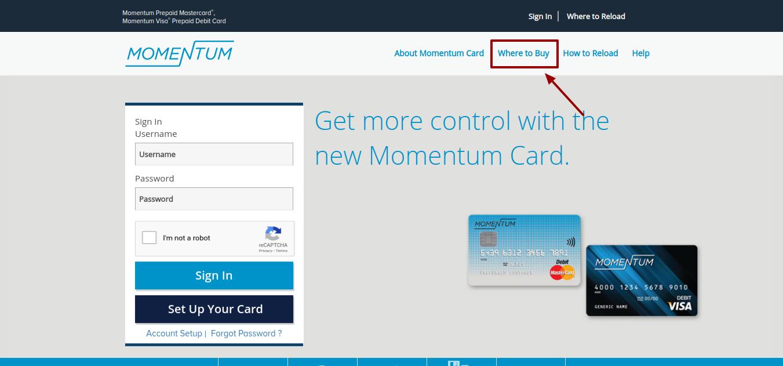 Momentum Prepaid Card Buy