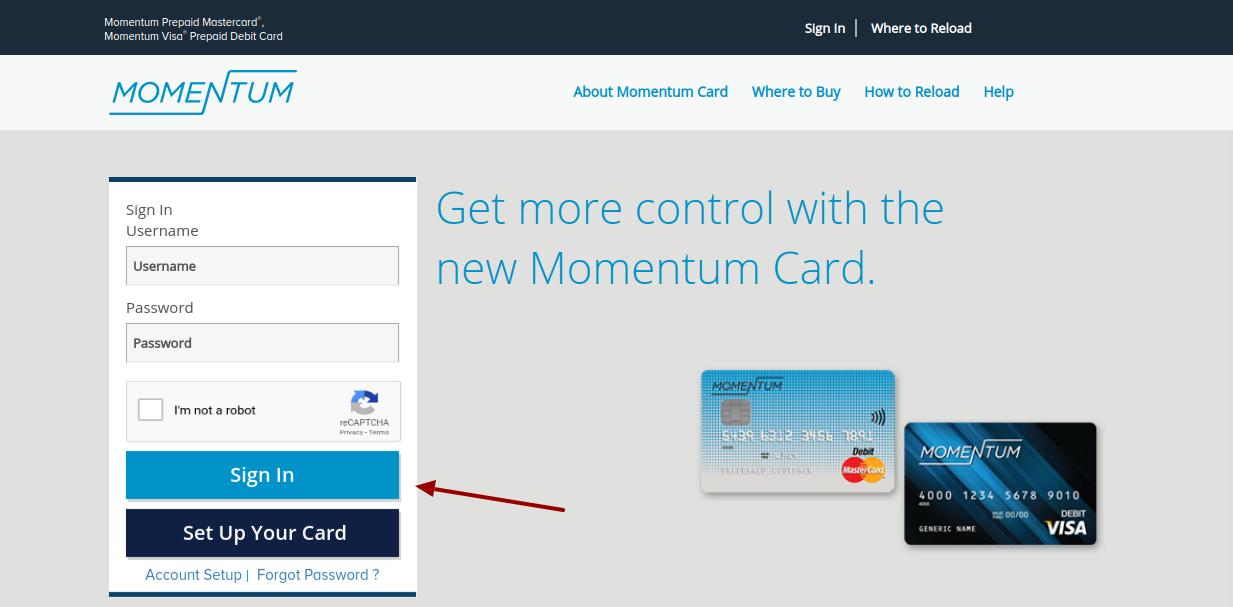 Momentum Prepaid Card Login