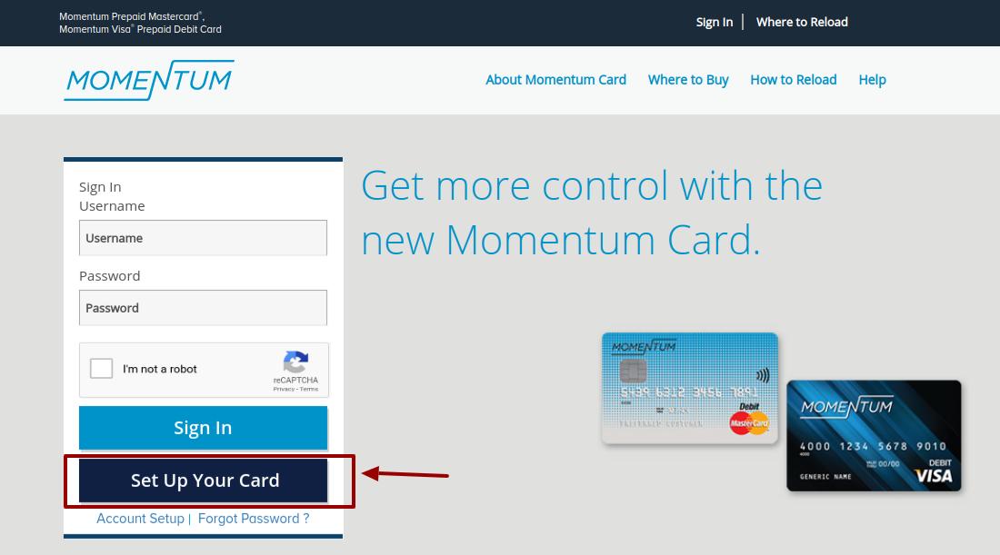 Momentum Prepaid Card Set up