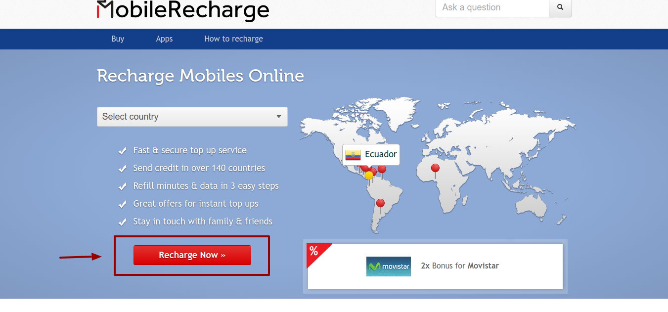 Recharge mobiles Register now