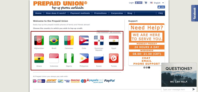 send top-up Prepaid Union