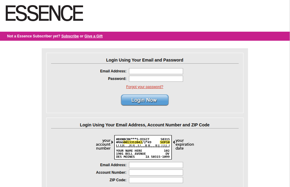 Essence Customer Service Login