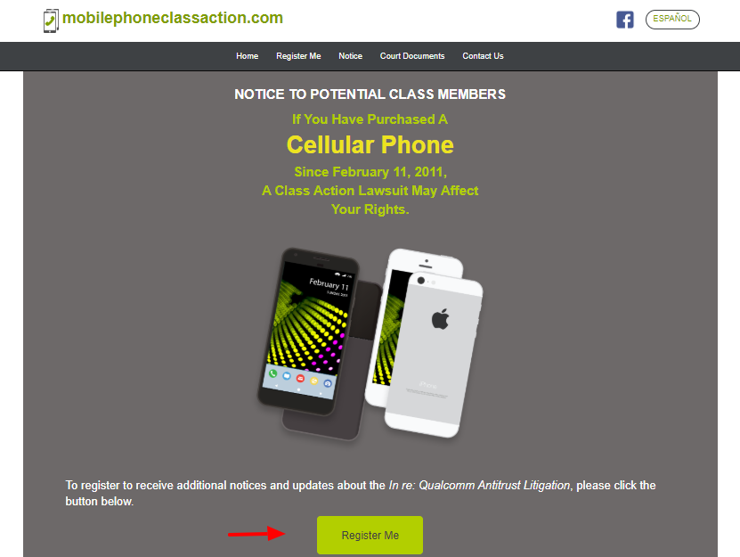 Mobile Phone Class Action Register