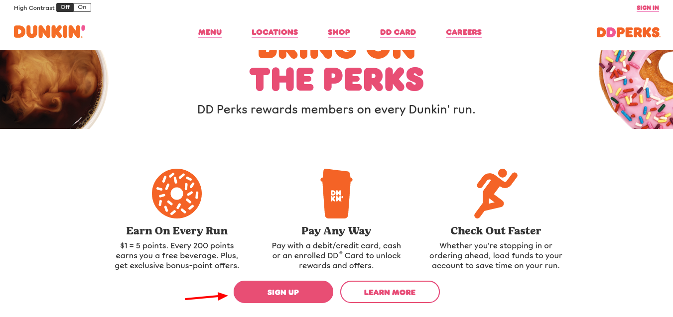 Dunkin Donuts Sign Up
