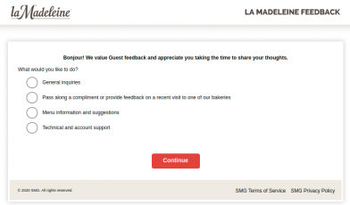 la Madeleine Feedback Survey