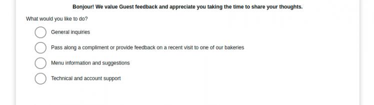 la Madeleine Feedback Survey