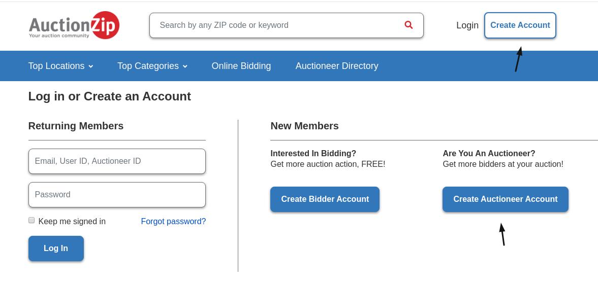 AuctionZip Create Auctioneer Account