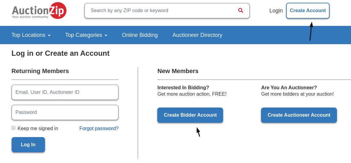 AuctionZip Create Bidder Account