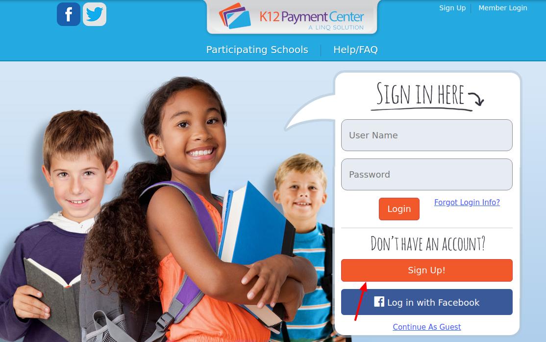 K12PaymentCenter Sign Up