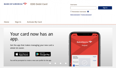 Bank of America EDD Debit Card Logo