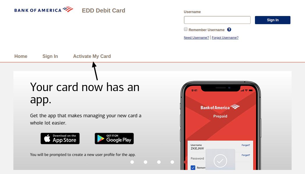 EDD Debit Card Activate