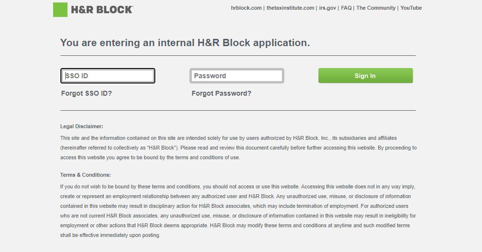 H&R Block Employee Portal login