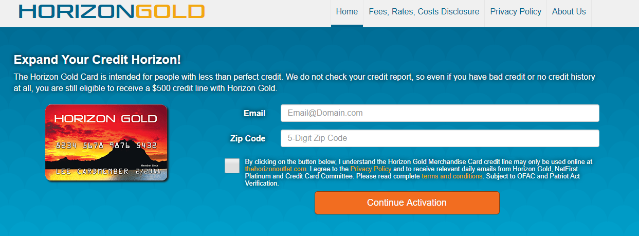 Horizon Gold Credit Card-Make a successful application