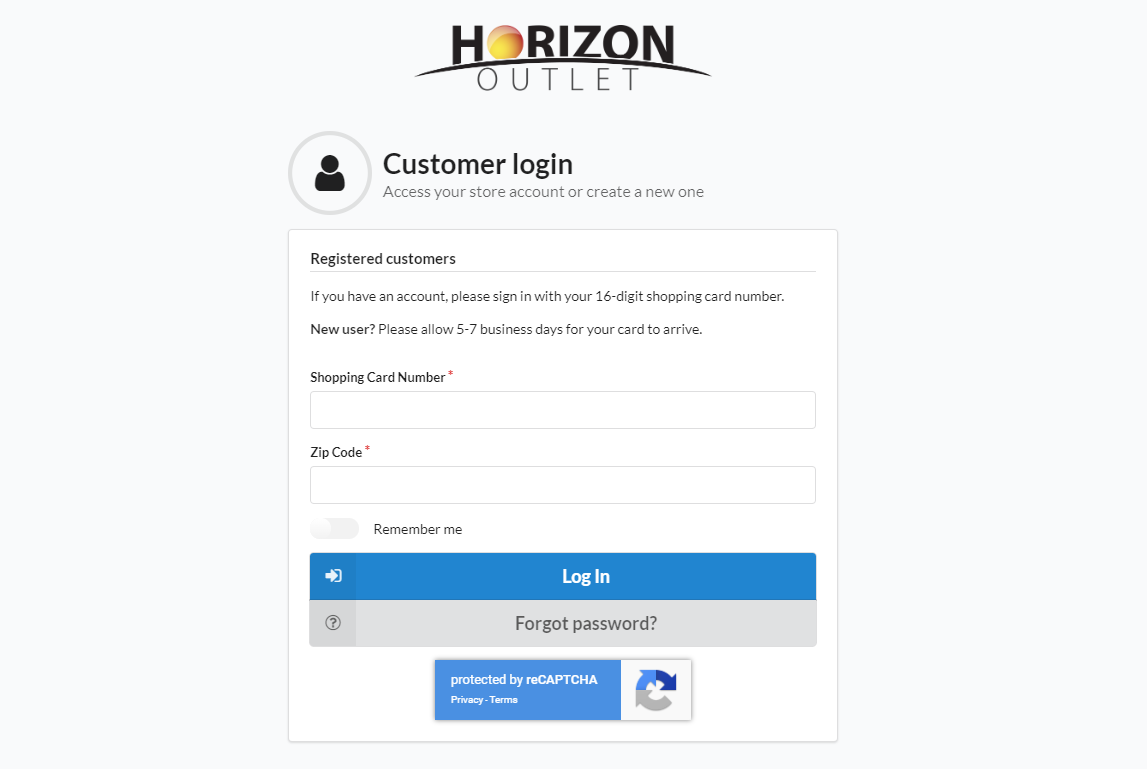 Horizon Outlet Online enrolment membership