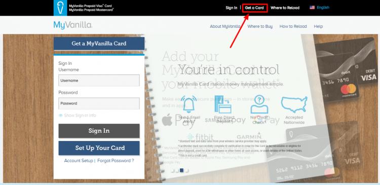 How to get a MyVanilla Debit Card