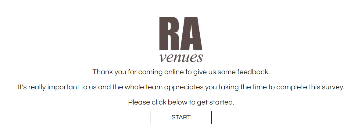 RA Venues Online Guest Satisfaction Survey