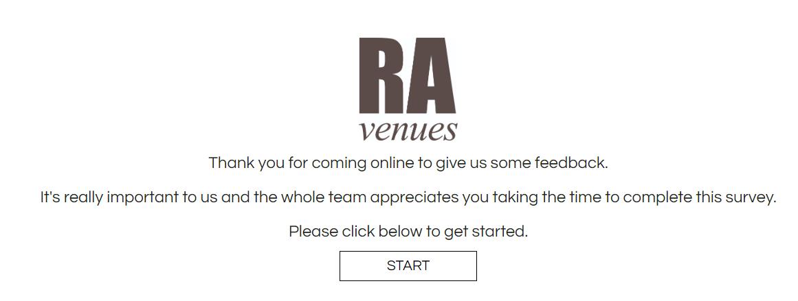 RA Venues Online Guest Satisfaction Survey