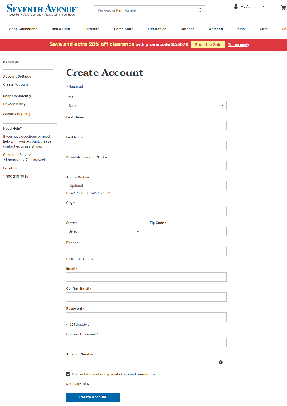 Seventh Avenue Credit Card Account Registration