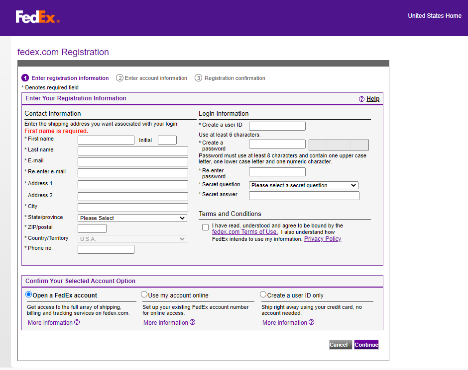 fedex USER Registration