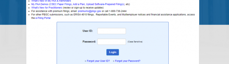 My PAA Login at E-GOV PBGC
