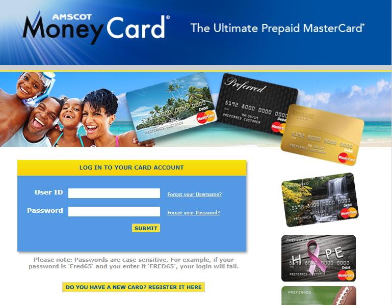 Amscot MoneyCard Login