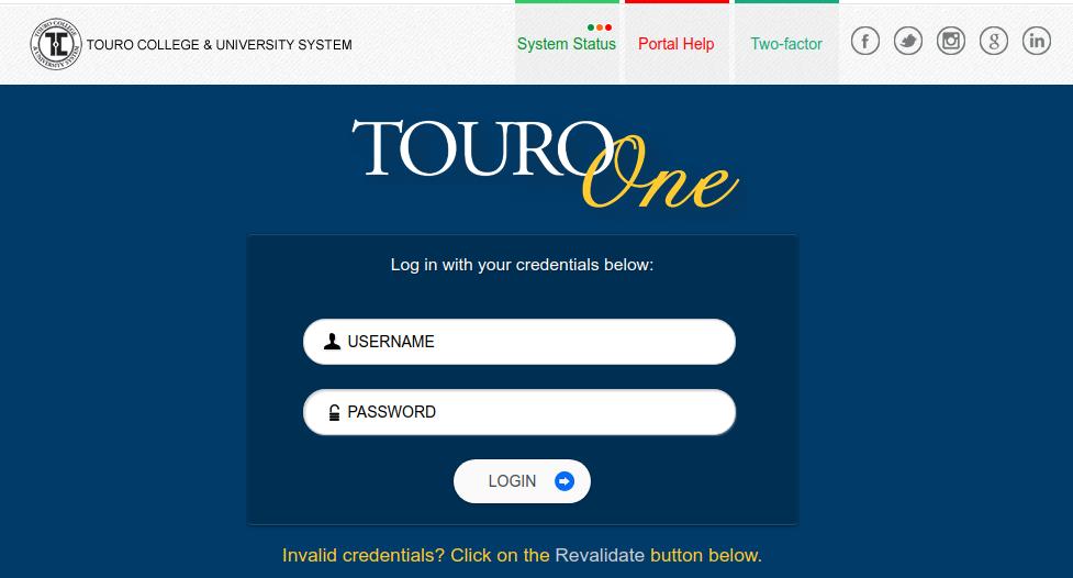 TouroOne Portal Login