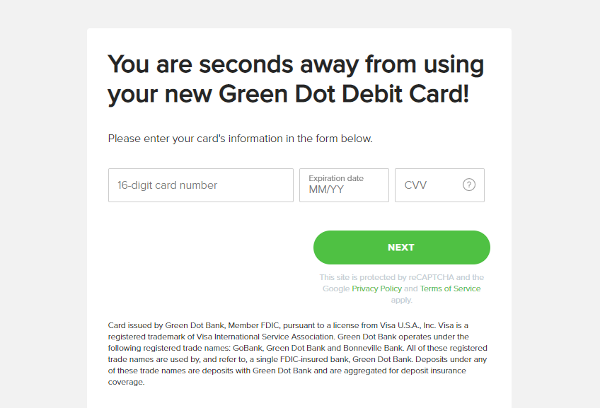 Green Dot card activate